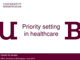 Priority setting in healthcare