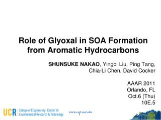 Role of Glyoxal in SOA Formation from Aromatic Hydrocarbons
