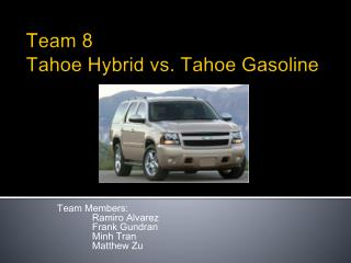 Team 8 Tahoe Hybrid vs. Tahoe Gasoline