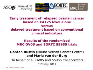 Early treatment of relapsed ovarian cancer based on CA125 level alone  versus