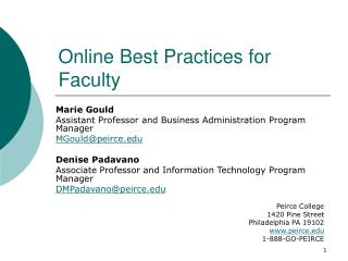 Online Best Practices for Faculty