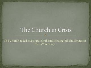 The Church in Crisis