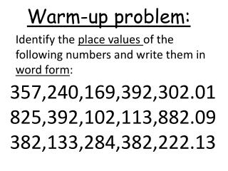 Warm-up problem: