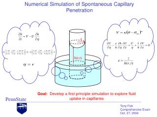 Numerical Simulation of Spontaneous Capillary Penetration