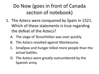 Do Now (goes in front of Canada section of notebook)
