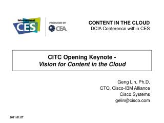 CITC Opening Keynote -  Vision for Content in the Cloud
