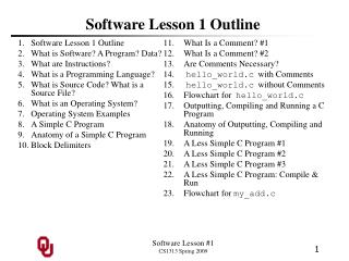 Software Lesson 1 Outline