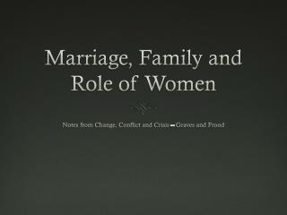 Marriage, Family and Role of Women