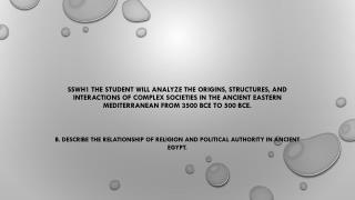 B. Describe  the relationship of religion and political authority in Ancient Egypt.