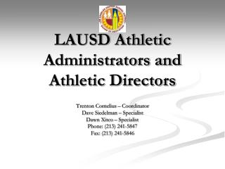 LAUSD Athletic Administrators and Athletic Directors