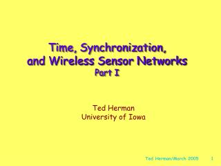 Time, Synchronization,  and Wireless Sensor Networks Part I