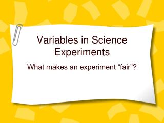 Variables in Science Experiments
