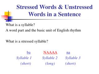 Stressed Words & Unstressed Words in a Sentence