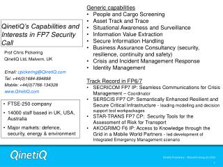 QinetiQ's Capabilities and Interests in FP7 Security Call