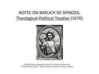 NOTES ON BARUCH DE SPINOZA,  Theological-Political Treatise  (1670)