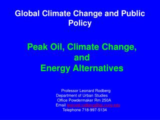 Global Climate Change and Public Policy