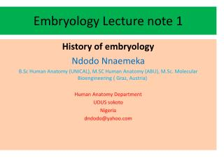 Embryology Lecture note 1