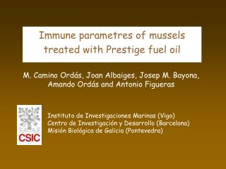 Immune parametres of mussels treated with Prestige fuel oil