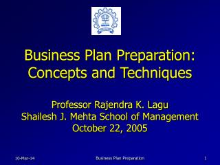 Business Plan Preparation: Concepts and Techniques