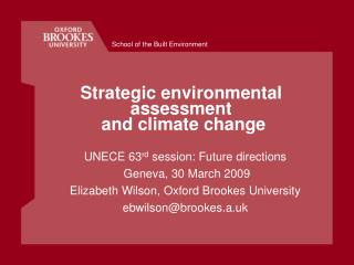Strategic environmental assessment  and climate change