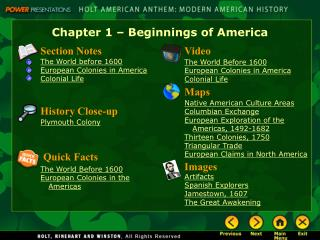 Chapter 1 – Beginnings of America