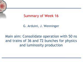 Summary of Week 16 G. Arduini, J. Wenninger