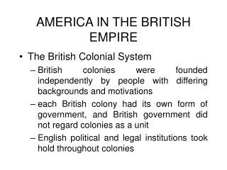 AMERICA IN THE BRITISH EMPIRE