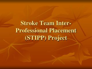 Stroke Team Inter-Professional Placement (STIPP) Project