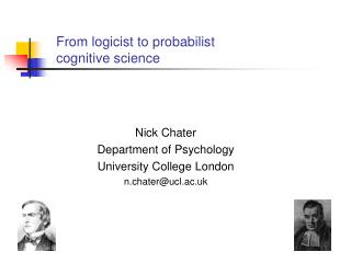From logicist to probabilist  cognitive science