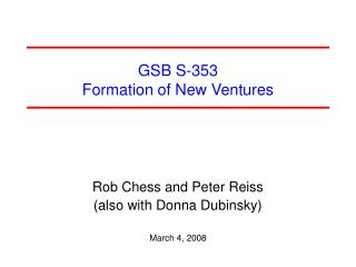GSB S-353  Formation of New Ventures