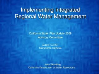 Implementing Integrated Regional Water Management