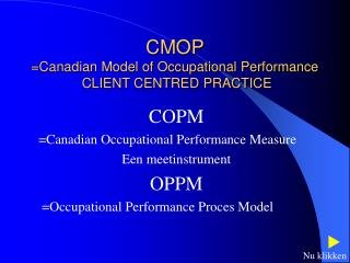 CMOP =Canadian Model of Occupational Performance  CLIENT CENTRED PRACTICE