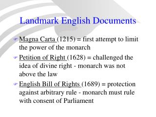 Landmark English Documents