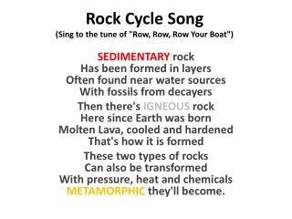 "Rock Cycle Song (Sing to the tune of ""Row, Row, Row Your Boat"")"
