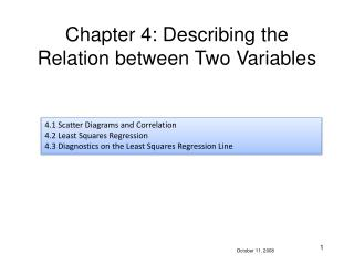 Chapter 4: Describing the Relation between Two Variables