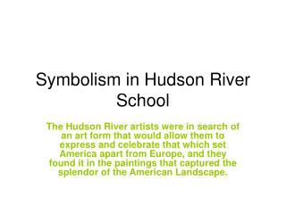 Symbolism in Hudson River School