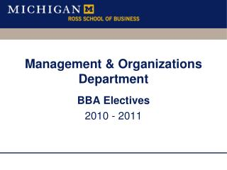 Management & Organizations Department