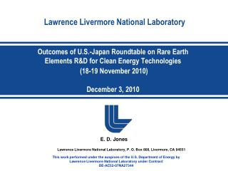 Outcomes of U.S.-Japan Roundtable on Rare Earth Elements RD for Clean Energy Technologies  18-19 November 2010  December