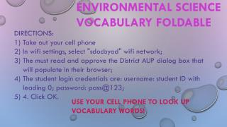 ENVIRONMENTAL SCIENCE VOCABULARY FOLDABLE