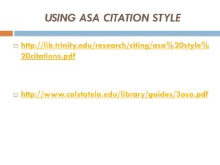 USING ASA CITATION STYLE