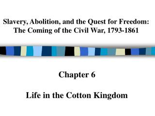 Slavery, Abolition, and the Quest for Freedom:  The Coming of the Civil War, 1793-1861
