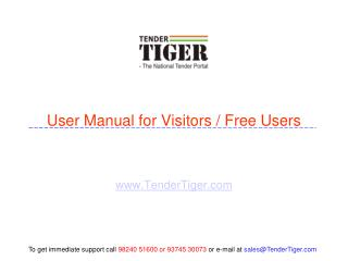 User Manual for Visitors / Free Users
