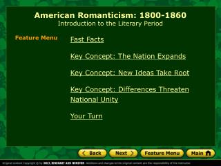 American Romanticism: 1800-1860 Introduction to the Literary Period