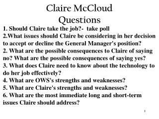 Claire McCloud Questions