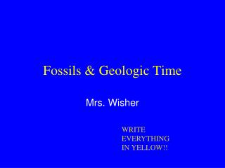 Fossils & Geologic Time