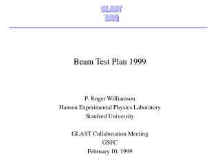 Beam Test Plan 1999