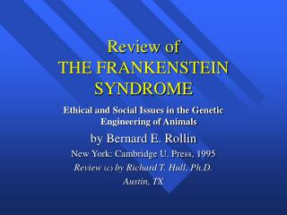 Review of THE FRANKENSTEIN SYNDROME