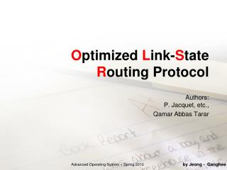 O ptimized  L ink- S tate  R outing Protocol
