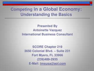 Competing  in a Global Economy: Understanding the Basics