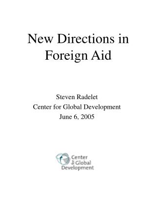 New Directions in Foreign Aid